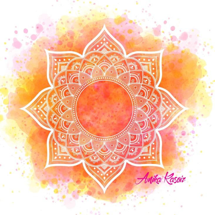 Mandala 8 weiss gelb